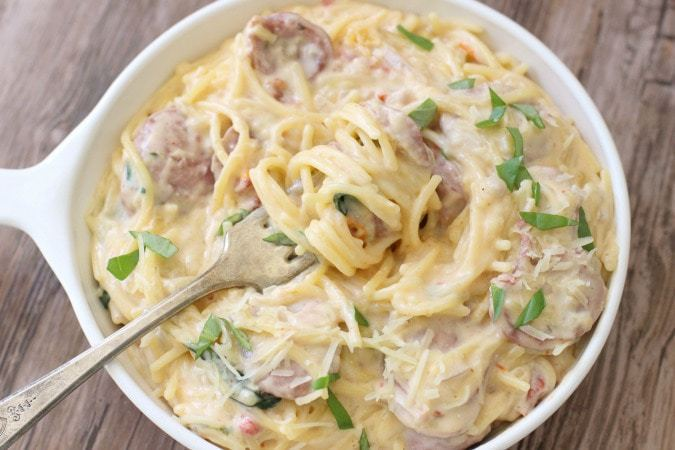 Creamy One-Pot Sausage Spaghetti - Butter With A Side of Bread