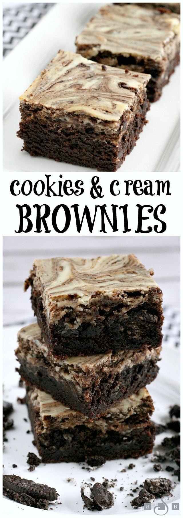 These Cookies & Cream Brownies are the perfect combination of cream cheese, brownies, and Oreo Cookies! Warning: you may want to eat the whole pan yourself!