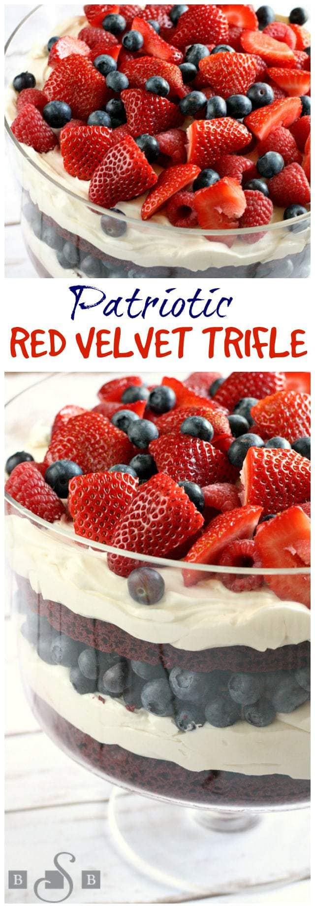 I love making trifles because they look so fancy, but they are so easy to put together! I had never made one with red velvet cake before, but it is the perfect base for a patriotic dessert, especially when topped off with blueberries, raspberries and strawberries! I just used a boxed mix for the cake and it turned out to be an amazing dessert!
