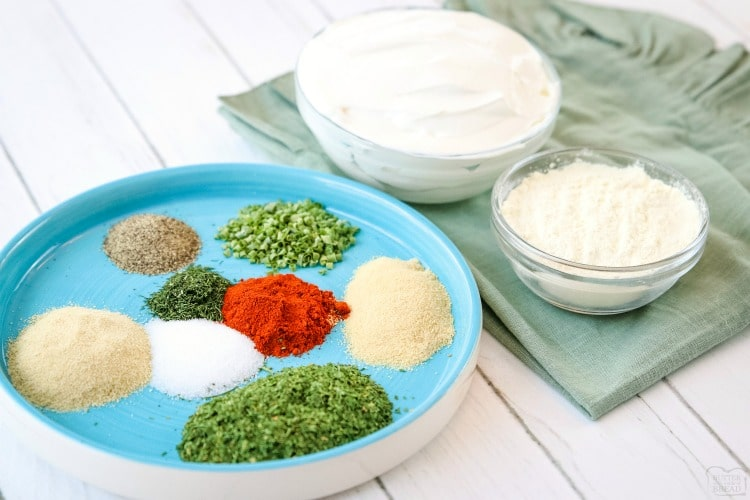 ingredients for homemade ranch seasoning dip