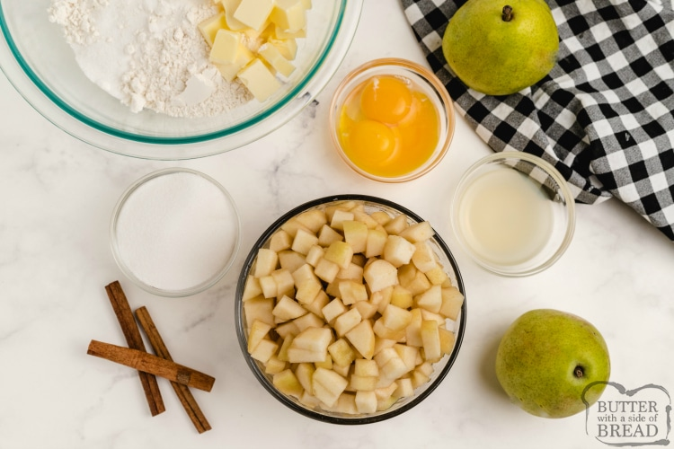 Ingredients in pear cobbler