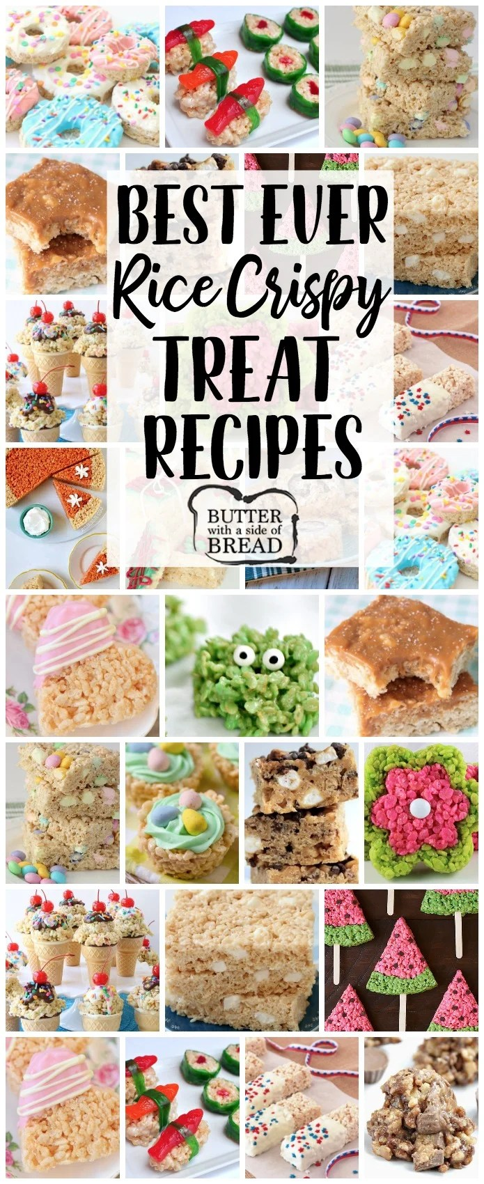 Rice Krispie Treats recipe for any and all occasions! From salted caramel to churro and everything in between, you're sure to find a rice crispy treats recipe you'll love. Our basic recipe for Krispie Treats is THE BEST!