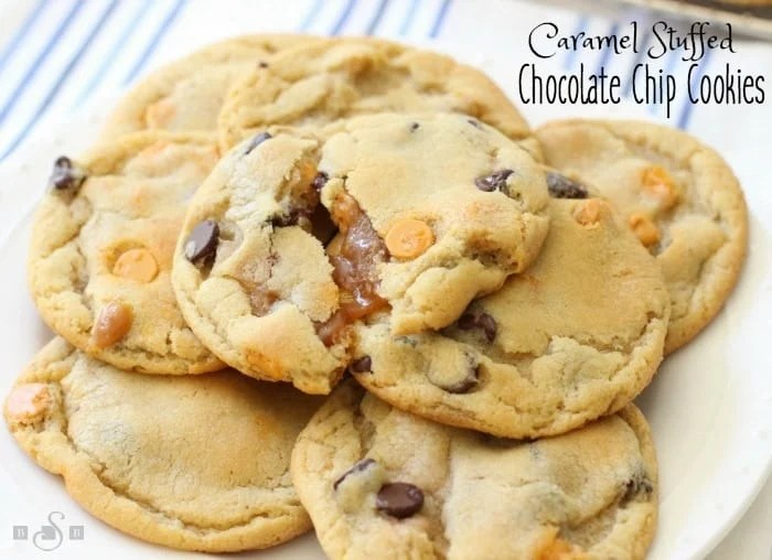Caramel Stuffed Chocolate Chip Cookies are everything perfect about chocolate chip cookies, plus gooey caramel centers that make these cookies even more irresistible!