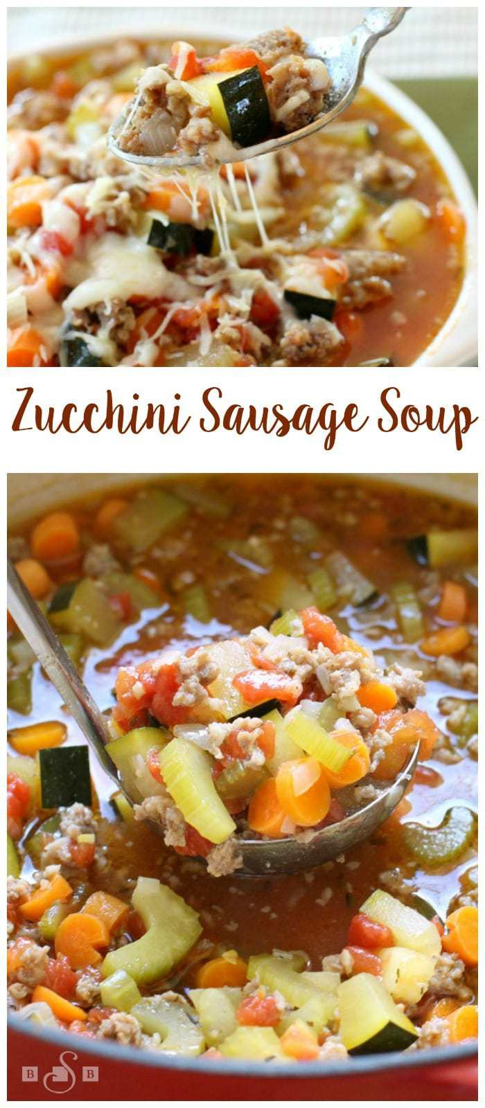 Easy recipe for Zucchini Sausage Soup that has wonderful fresh flavors and satisfies that comfort food craving all at once. Lovely #zucchini dinner recipe from Butter With A Side of Bread