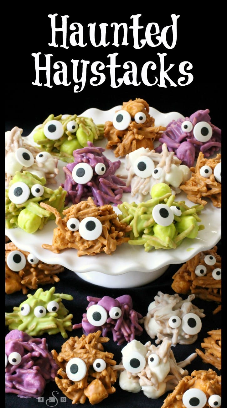 Haunted Haystacks are made from butterscotch chips, peanut butter and marshmallows. Melted and shaped with candy eyeballs for a festive Halloween treat. Easy #Halloween recipe from Butter With A Side of Bread