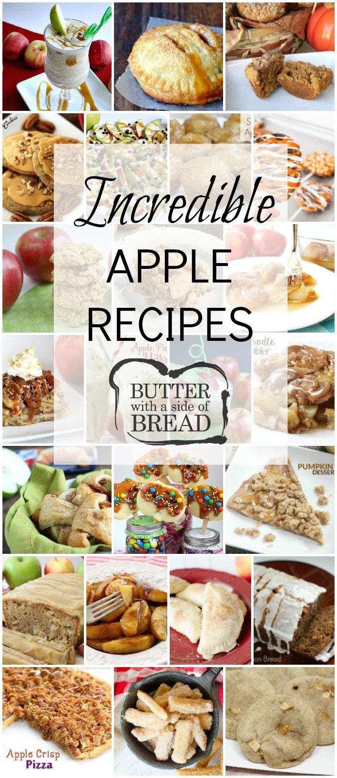 Tried & true incredible Apple Recipes that everyone enjoys! Featuring apple desserts, apple snacks, cookies, breads and more. Easy apple recipe for fall baking or any time of the year. #apples #recipe #applerecipes #baking #Fall #dessert #food #recipes from BUTTER WITH A SIDE OF BREAD