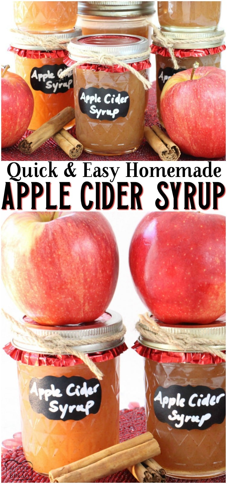 Easy Apple Cider Syrup made with simple ingredients including apple cider & pumpkin pie spice! This delightful homemade syrup recipe is easy to make and tastes wonderful. Perfect flavors for Fall breakfasts!