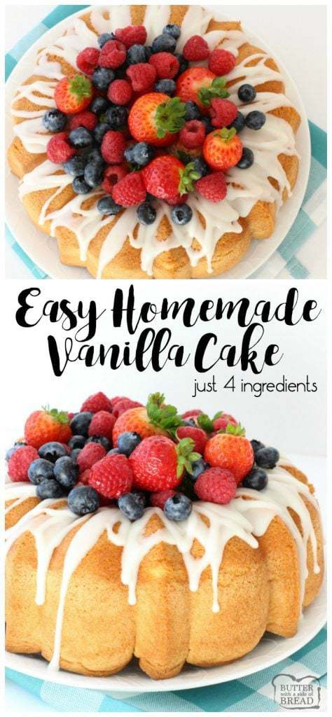 Homemade Vanilla Cake is the easiest recipe ever- just 4 ingredients & it tastes divine! I like to top this Easy Homemade Vanilla Cake with berries & a sweet almond glaze.
