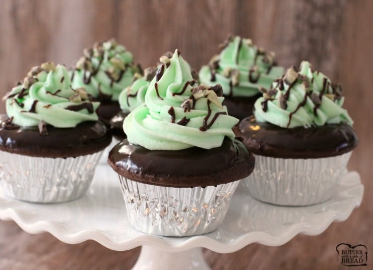 Mint Chocolate Cupcakes made easy with boxed cake mix hacks! Dipped in chocolate glazed & topped with smooth mint buttercream, it's a fabulous cupcake recipe.