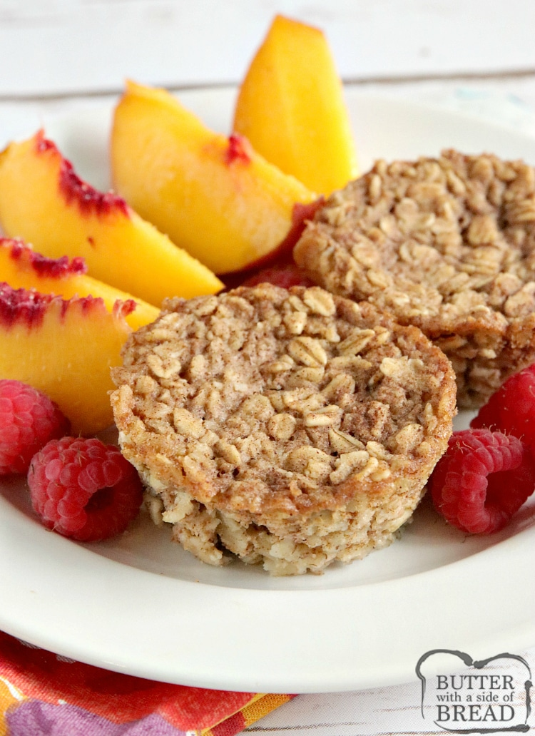 Baked Oatmeal Cups are healthy, delicious and perfectly pre-portioned for a quick breakfast on the go! This baked oatmeal recipe is wonderful to make in advance and then can be enjoyed any time you need a fast, easy and nutritious breakfast.