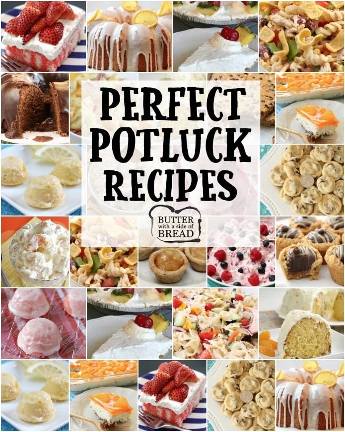 Our favorite POTLUCK RECIPES all in one place! Includes our popular recipes for Fiesta Ranch Chicken Pasta Salad, Lemon Cake Drops, Chocolate Chip Banana Bars, Orange Cream Fruit Salad and more. Perfect recipes for planning your next potluck dinner.