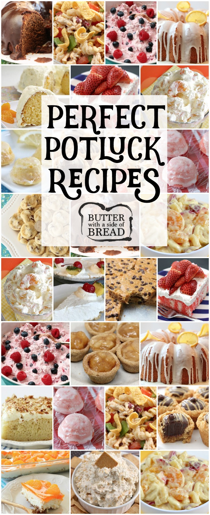 Our favorite POTLUCK RECIPES all in one place! Includes our popular recipes for Fiesta Ranch Chicken Pasta Salad, Lemon Cake Drops, Chocolate Chip Banana Bars, Orange Cream Fruit Salad and more. Perfect recipes for planning your next #potluck dinner or lunch. Recipes from Butter With A Side of Bread #food #recipe #potlucks #potluck #lunch #summer