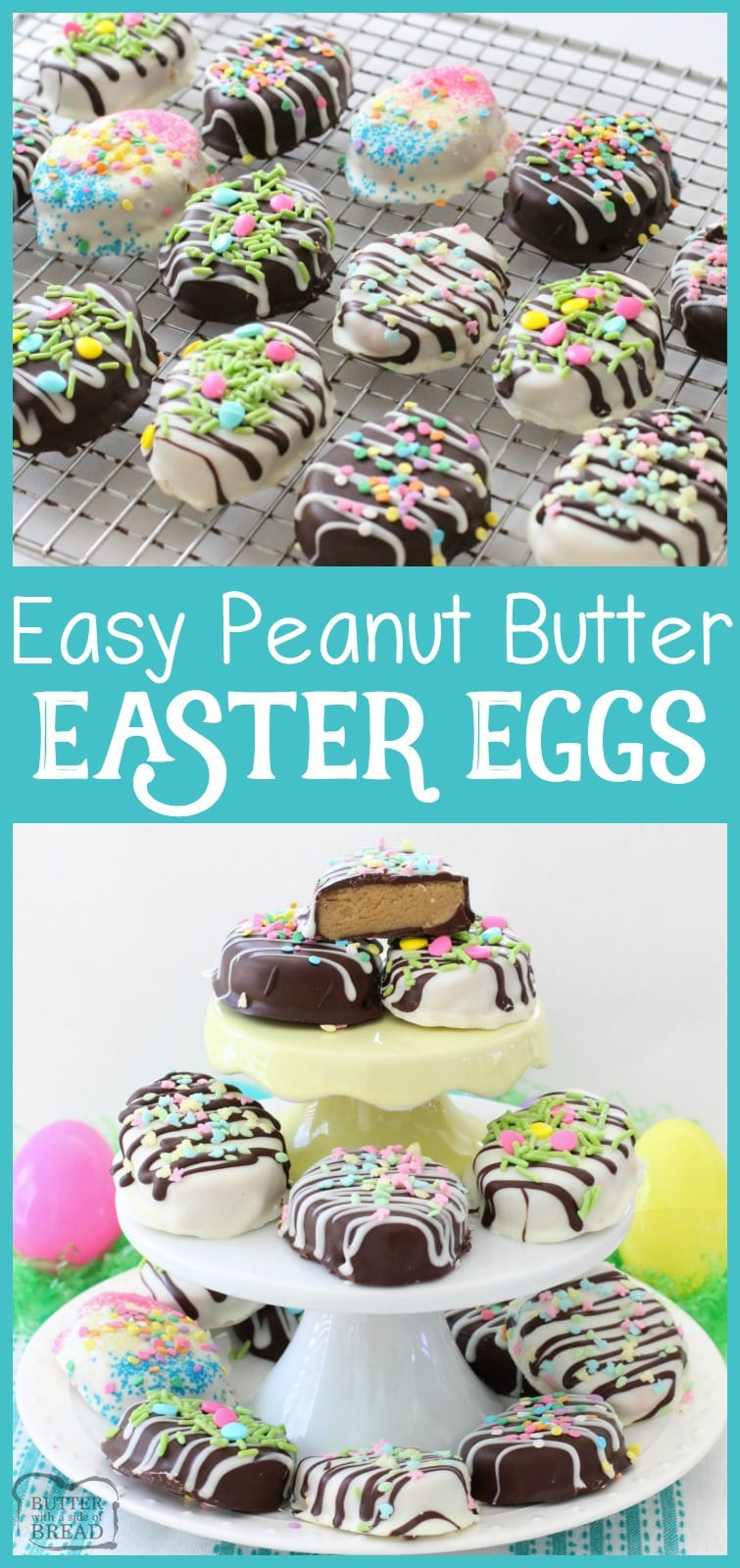 Easy recipe for Peanut Butter Easter Eggs with a soft, sweet filling! Simple, cute & festive homemade treat. Butter With A Side of Bread