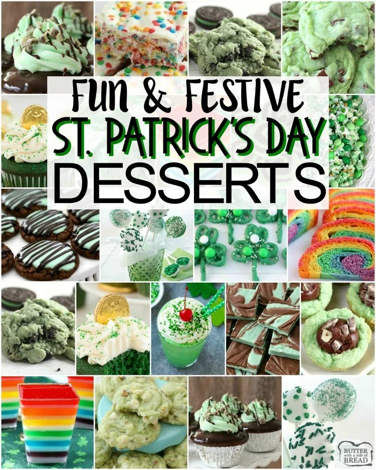 Fun & Festive St. Patrick's Day Food recipes from cookies to jello!  Collection of EASY St. Patrick's Day recipes for everyone!