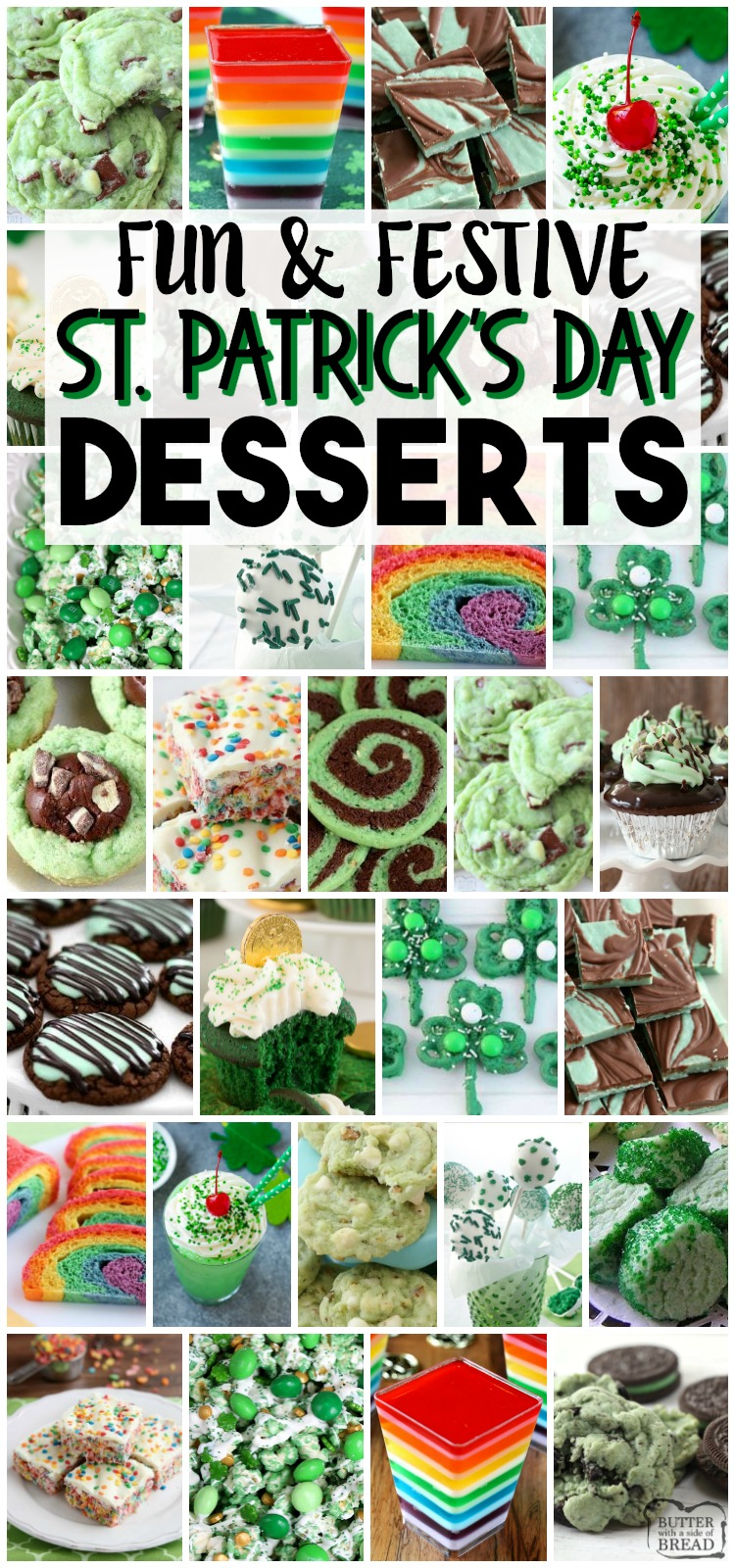 Fun & Festive St. Patrick's Day Food recipes from cookies to jello! Collection of EASY St. Patrick's Day recipes for everyone! #StPatricksDay #green #rainbow #food #recipes from BUTTER WITH A SIDE OF BREAD