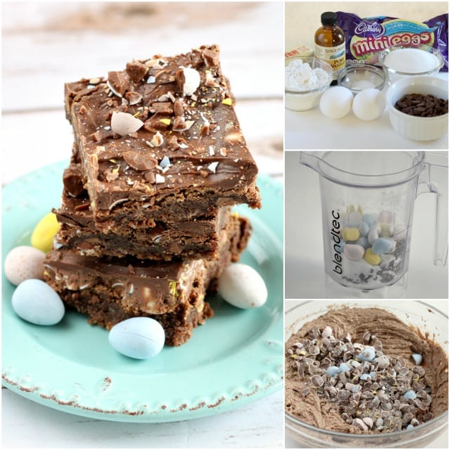 Cadbury Mini Eggs are a favorite candy for many, and using them in both the batter and the frosting for these chocolate brownie bites creates the perfect dessert!