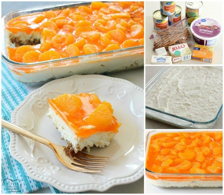 Tropical Jello Pretzel Salad is a combination of orange, pineapple and coconut flavors all in an easy-to-make sweet salad recipe!
