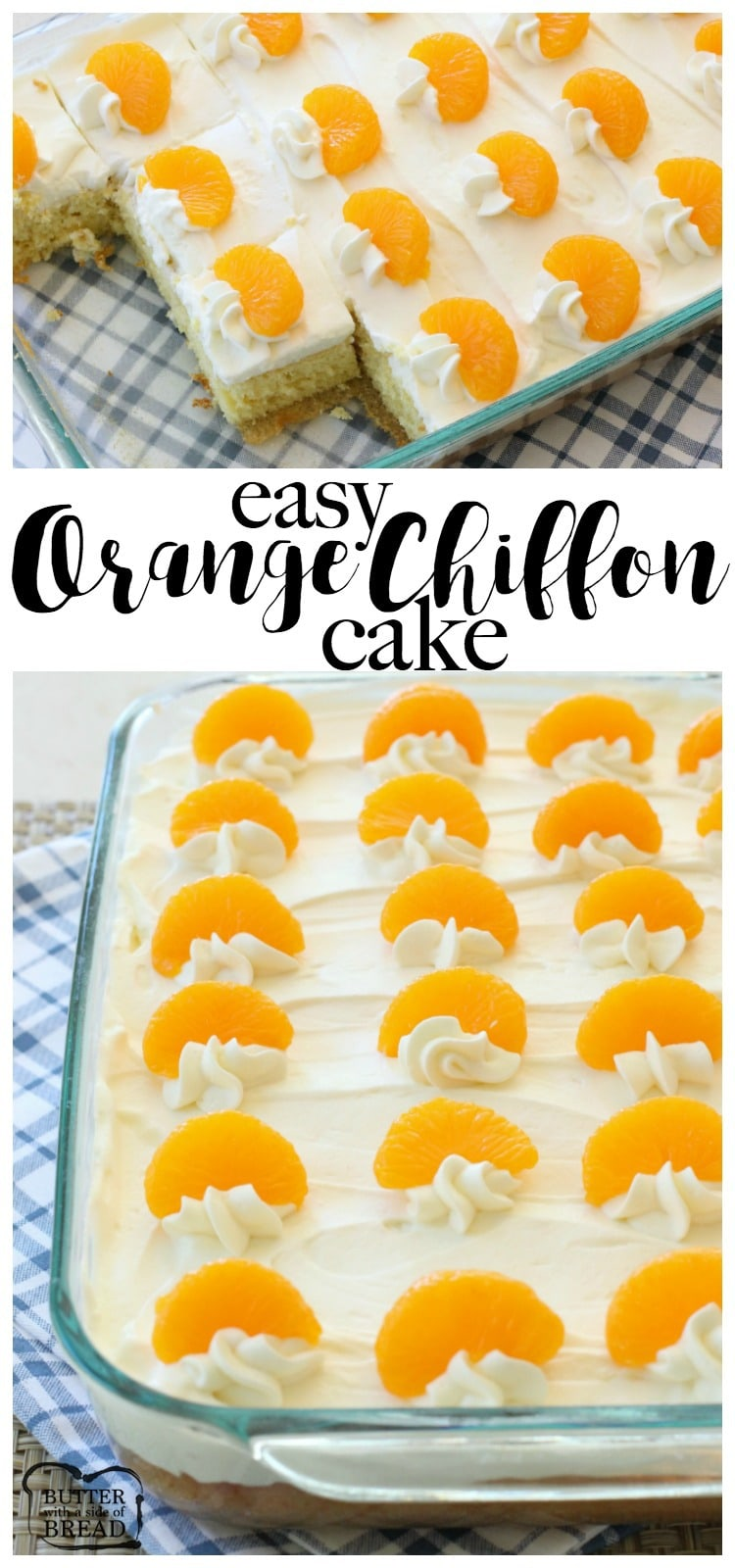 Orange Chiffon Cake is a light, delicate and perfectly sweet citrus cake that's incredibly easy to make! Perfect for family gatherings and parties as it's baked in a 9x13. You can double it to make a sheet cake too! Easy chiffon cake recipe from Butter With A Side of Bread