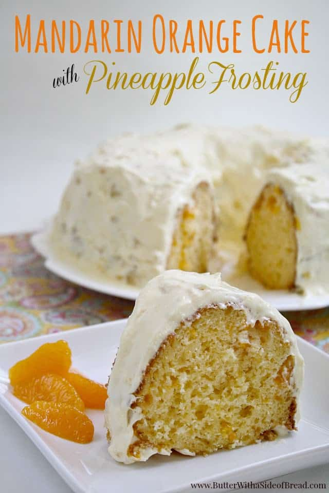 Mandarin Orange Cake with Pineapple Frosting is so light and refreshing and is the perfect cake for summer (or any other time too)!