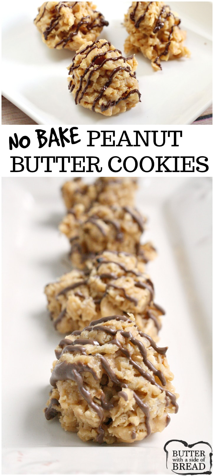 No Bake Peanut Butter Cookies are crunchy, sweet and full of flavor and they only take a few minutes start to finish to make!