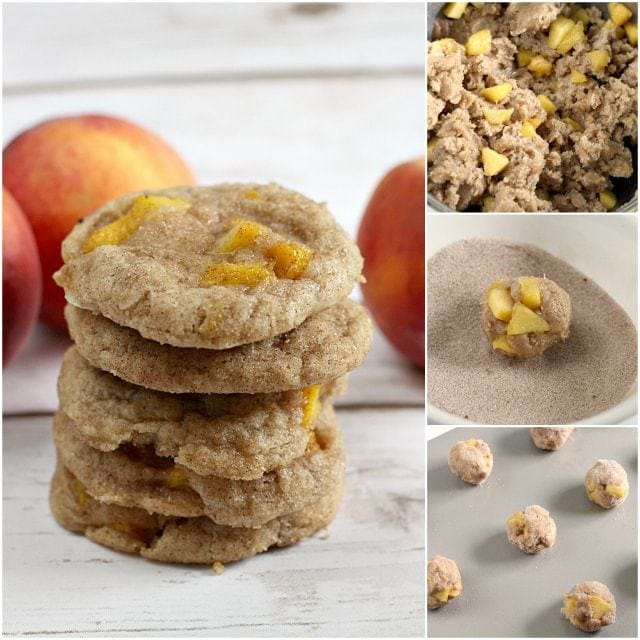 Peach Snickerdoodles are soft, chewy, delicious and the addition of fresh peaches takes your favorite cinnamon sugar cookie up a couple notches!