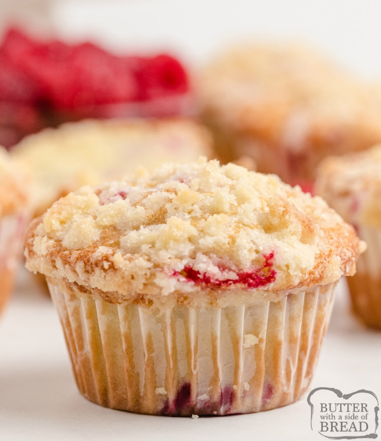 Lemon Raspberry Muffins with a light lemon flavor, filled with fresh raspberries and then topped with a sweet buttery streusel topping. These muffins are perfect for breakfast or a sweet snack any time of the day!