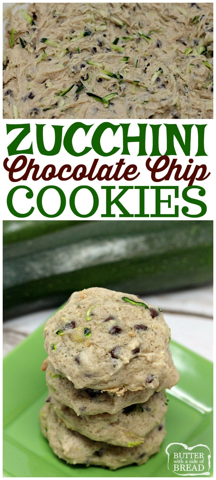 Zucchini Chocolate Chip Cookies are so soft and yummy, plus this is a delicious way to sneak in some veggies and use up all the #zucchini from your garden!Easy #cookie recipe from Butter With A Side of Bread
