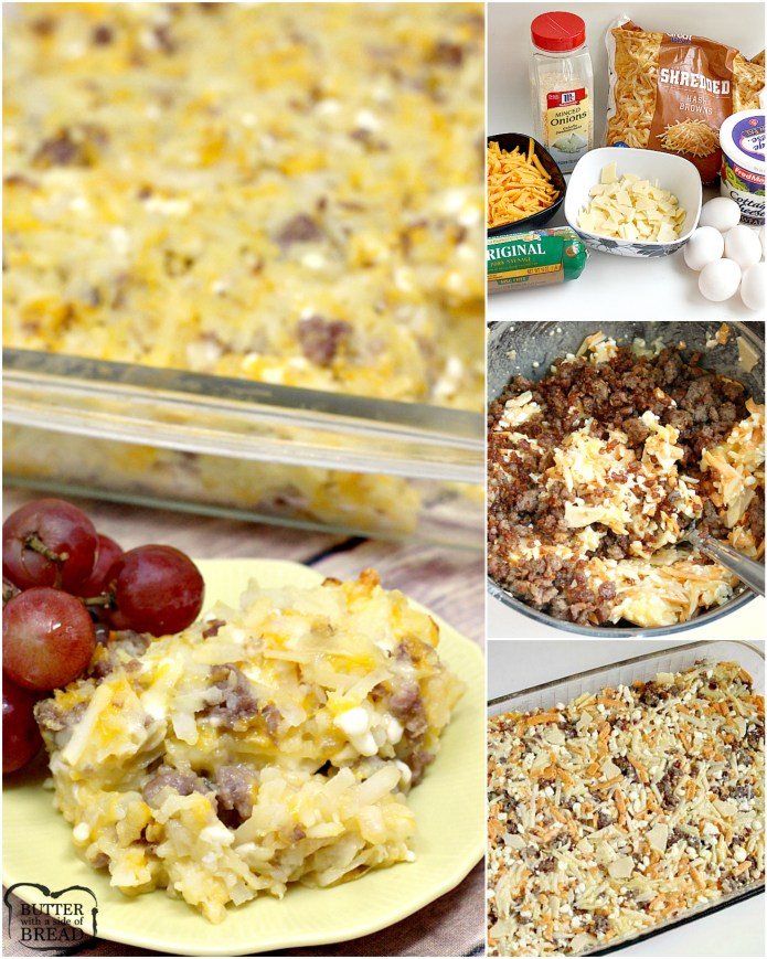 Cheesy Hashbrown Breakfast Casserole combines cheddar, Swiss and cottage cheese along with hash browns and your favorite breakfast meat!