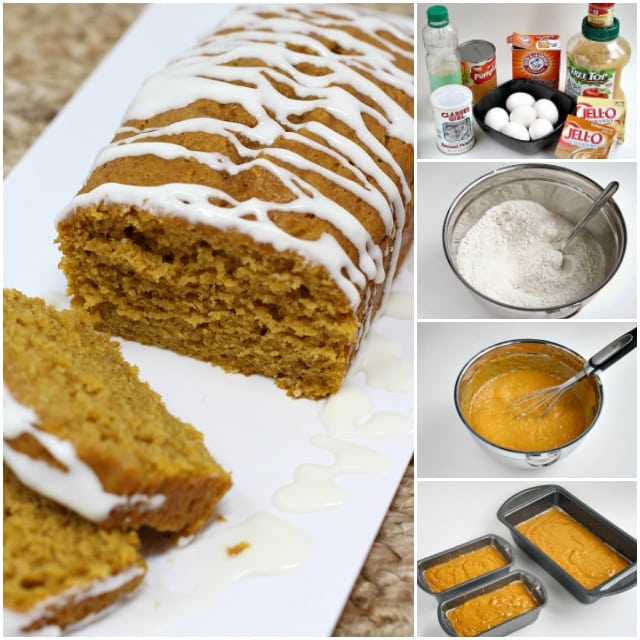 Step by step photos and instructions on how to make the Best Pumpkin Bread ever! Pumpkin Bread that is soft and delicious because it is made with canned pumpkin, vanilla and butterscotch pudding mixes. This pumpkin bread recipe is also topped with a delicious cream cheese glaze!