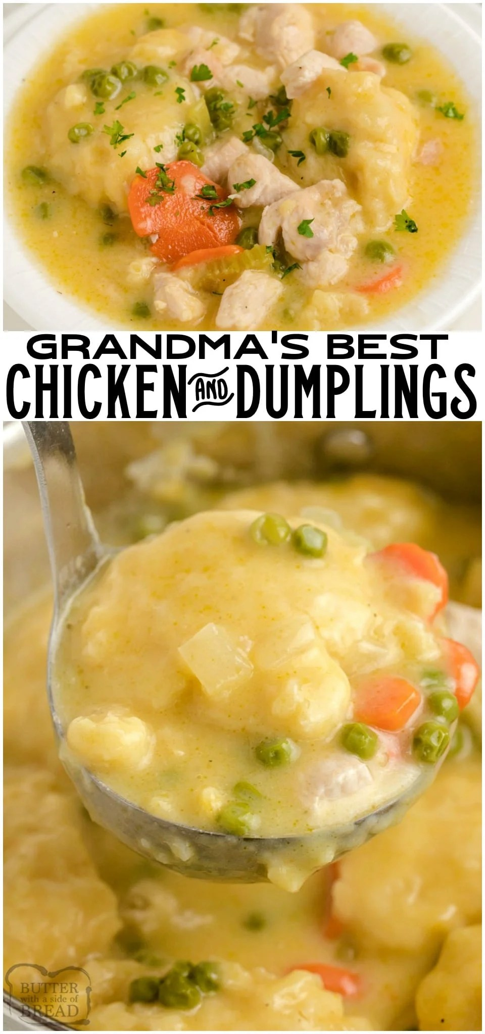 Chicken and Dumplings recipe made with juicy chicken, fresh vegetables and homemade biscuit dumplings. Seriously THE BEST homemade dumplings you've ever tasted. Simple tips to make the EASIEST chicken dumplings dinner ever.
