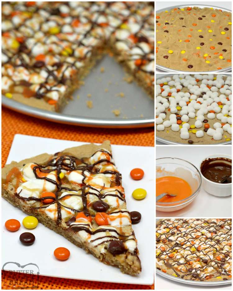 Halloween Peanut Butter Cookie Pizza is made with a delicious peanut butter cookie crust that is topped with marshmallows and Reese's Pieces and then drizzled with chocolate, caramel and orange icing! The perfect Halloween dessert!