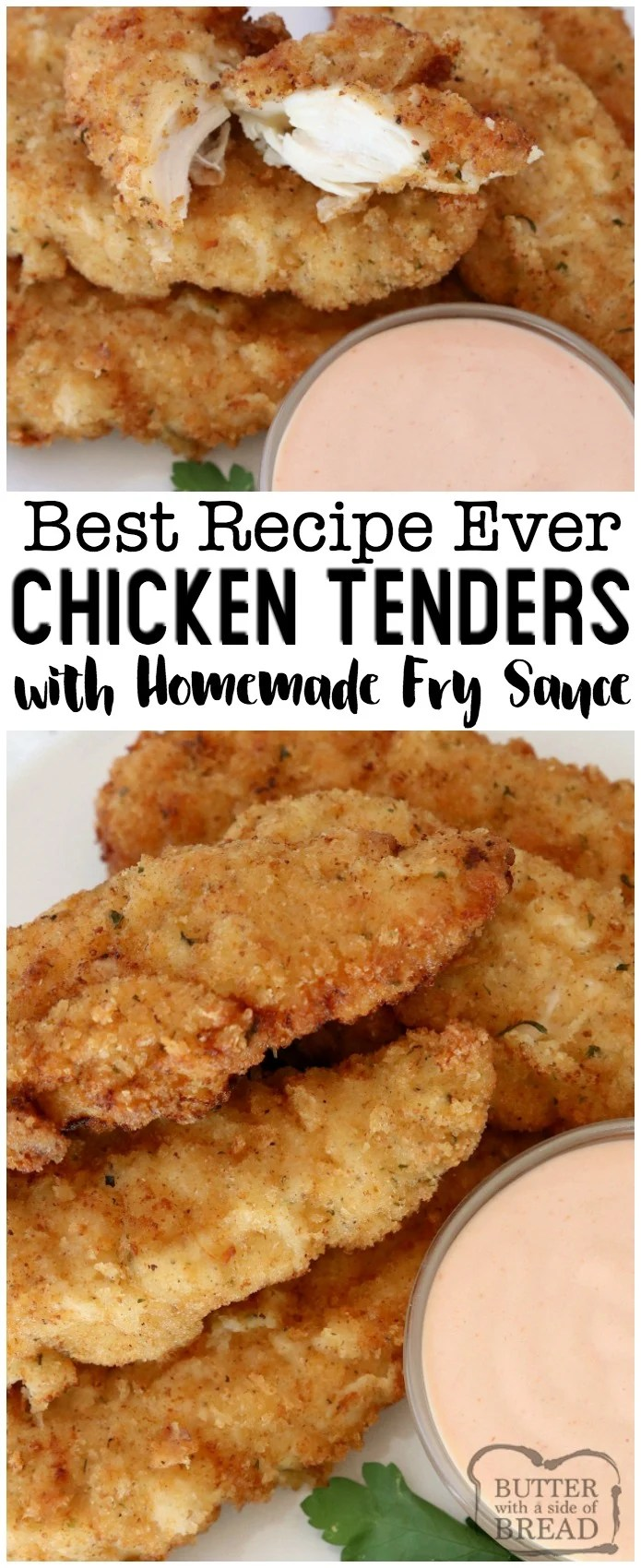 Chicken Strips made from scratch- so tender, juicy & flavorful. 2 simple tips to take your chicken tenders from good to great! #chicken #dinner #tenders #friedchicken #tenderize #food #meal #maindish #cooking #recipe from BUTTER WITH A SIDE OF BREAD