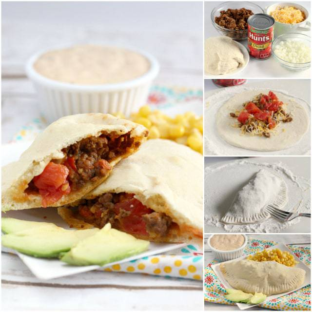 Easy Taco Calzones are made with a simple, homemade crust and then filled with ground beef, diced tomatoes, cheese and onions.