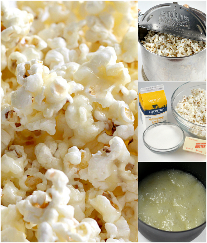 Better Than Caramel Popcorn is gooey, deliciously sweet and so easy to make! The coating in this caramel popcorn is made with butter, sugar and whipping cream - that's it!