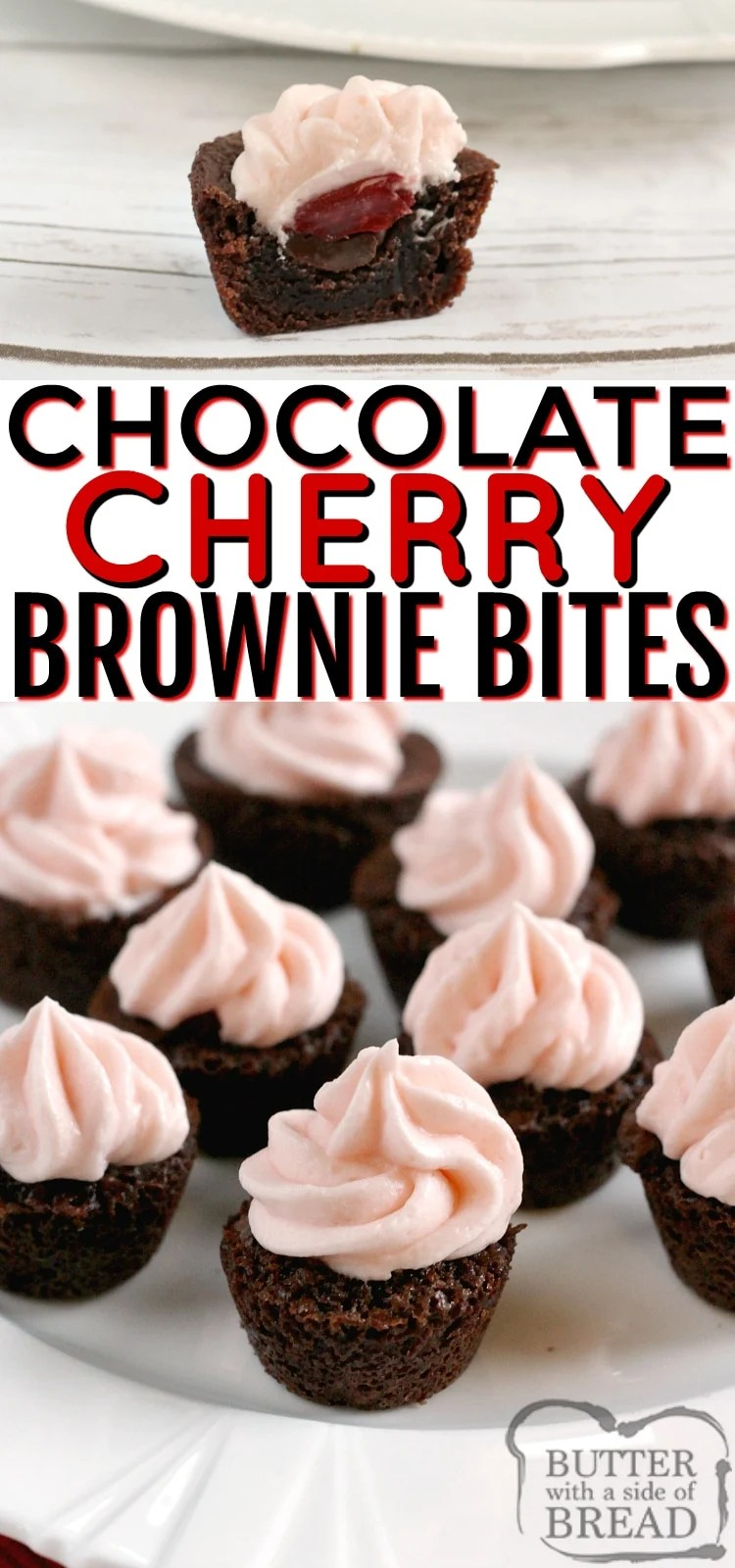 Chocolate Cherry Brownie Bites are mini brownies filled with chocolate chips, maraschino cherries and then topped with a cherry flavored cream cheese frosting! Simple brownie recipe that starts with a box of brownie mix.