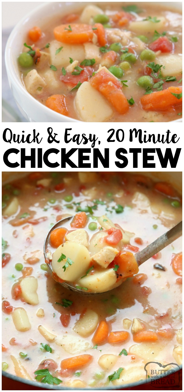 20-Minute Chicken Stew recipe, perfect for busy nights! Hearty stew with tender chicken & vegetables that comes together fast and tastes wonderful.#chicken #stew #recipe #dinner #chickenstew #chickenrecipe #chickendinner #food #comfortfood from BUTTER WITH A SIDE OF BREAD