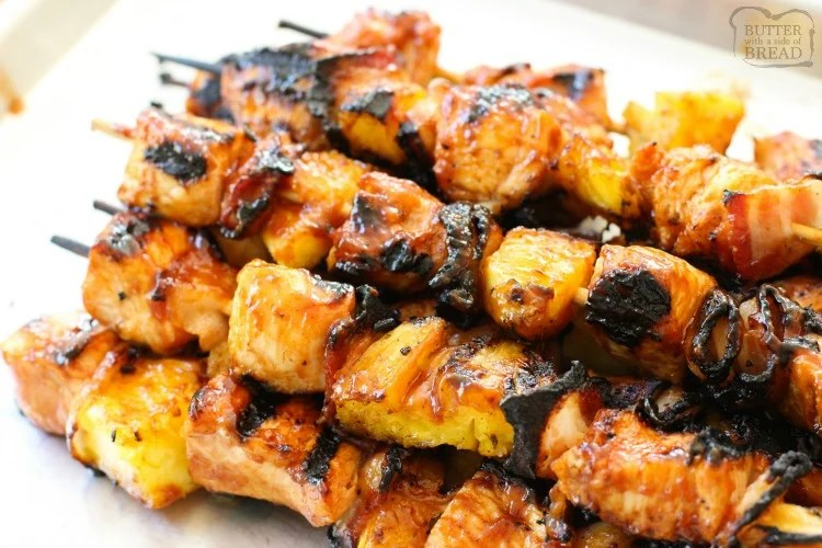 BBQ CHICKEN PINEAPPLE KABOBS with BACON - Butter with a Side of Bread