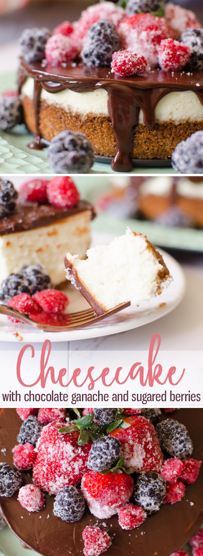 Cheesecake with Berries & Chocolate Ganache is a creamy, homemade, six-inch cheesecake topped with a rich chocolate ganache. The Cheesecake is garnished with sugared berries that give this classic dessert a bright, fresh flavor. #Cheesecake with #Berries and #Ganache from Butter With A Side of Bread #dessert #homemade #howtomakecheesecake #food #recipe