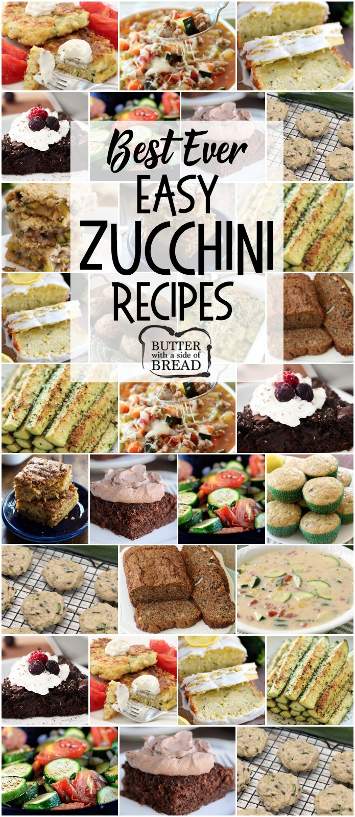 Easy Zucchini Recipes that everyone goes crazy over! Best Zucchini Bread, Zucchini Cookies, grilled zucchini and more. The BEST zucchini recipes for when your garden is overflowing!