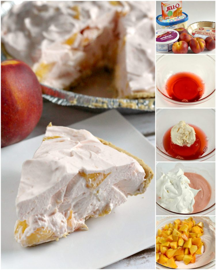 Step by step instructions and photos on how to make an easy Creamy Peach Pie with peach jello and vanilla ice cream!
