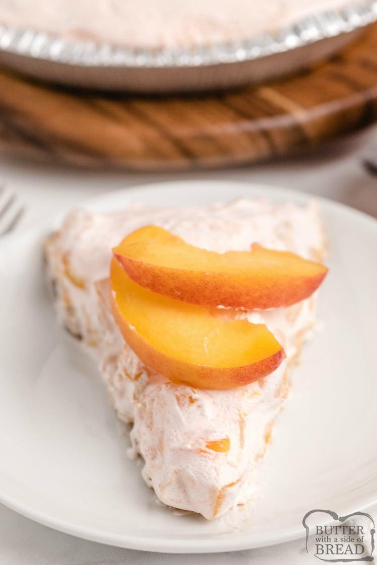 Slice of no-bake peach pie