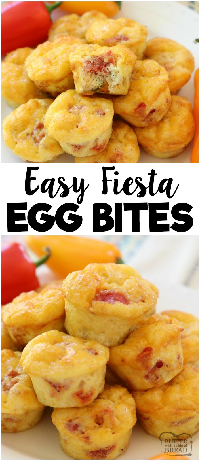 Fiesta Egg Bites are perfect for a hearty & flavorful breakfast, lunch or dinner! Simple recipe made with eggs, tomatoes, cheese and baked into bite-sized portions. Ready in under 30 minutes! #breakfast #dinner #meatless #protein #eggs #food #recipe from BUTTER WITH A SIDE OF BREAD