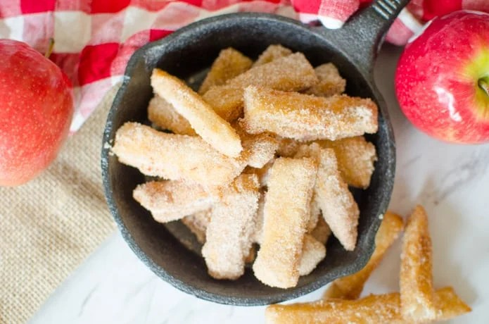 Apple pie fries are a fun fall time dessert.