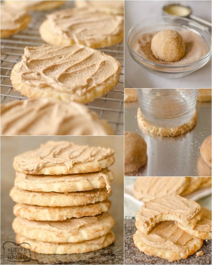 Frosted Maple Snickerdoodles are a soft, chewy cookie rolled in cinnamon and sugar topped with homemade Maple Frosting. This Maple Frosted Snickerdoodle recipe is a perfect fall dessert!