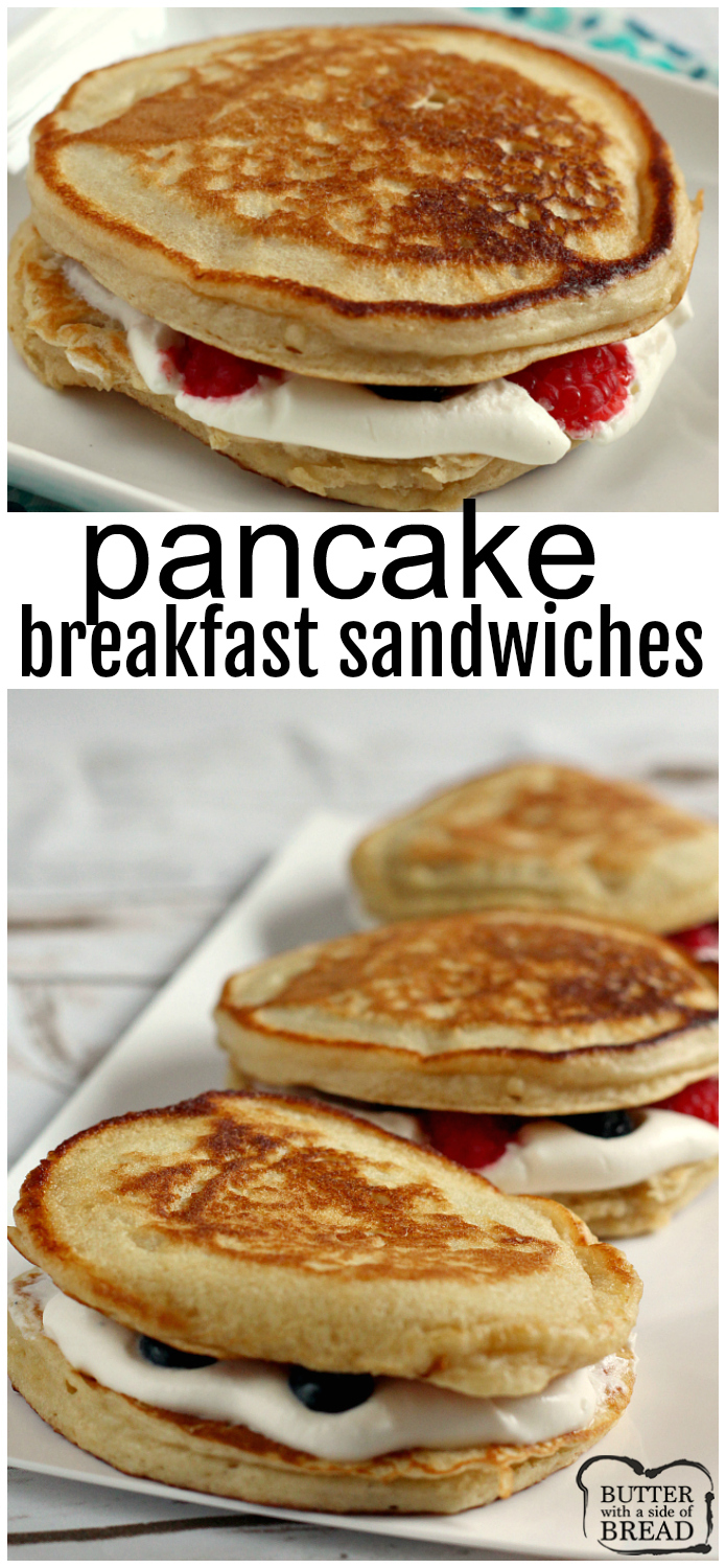 Pancake Breakfast Sandwiches are filled with fresh fruit and a light maple whipped cream filling. The perfect well-balanced breakfast for everyone in the family!