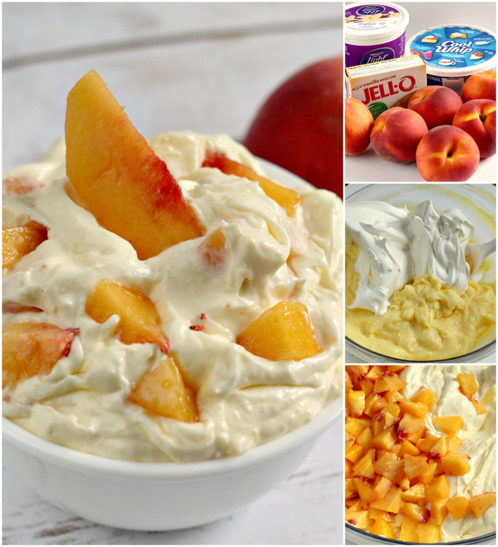 Step-by-step photos and instructions on how to make this easy Peaches and Cream Salad in just a few minutes!