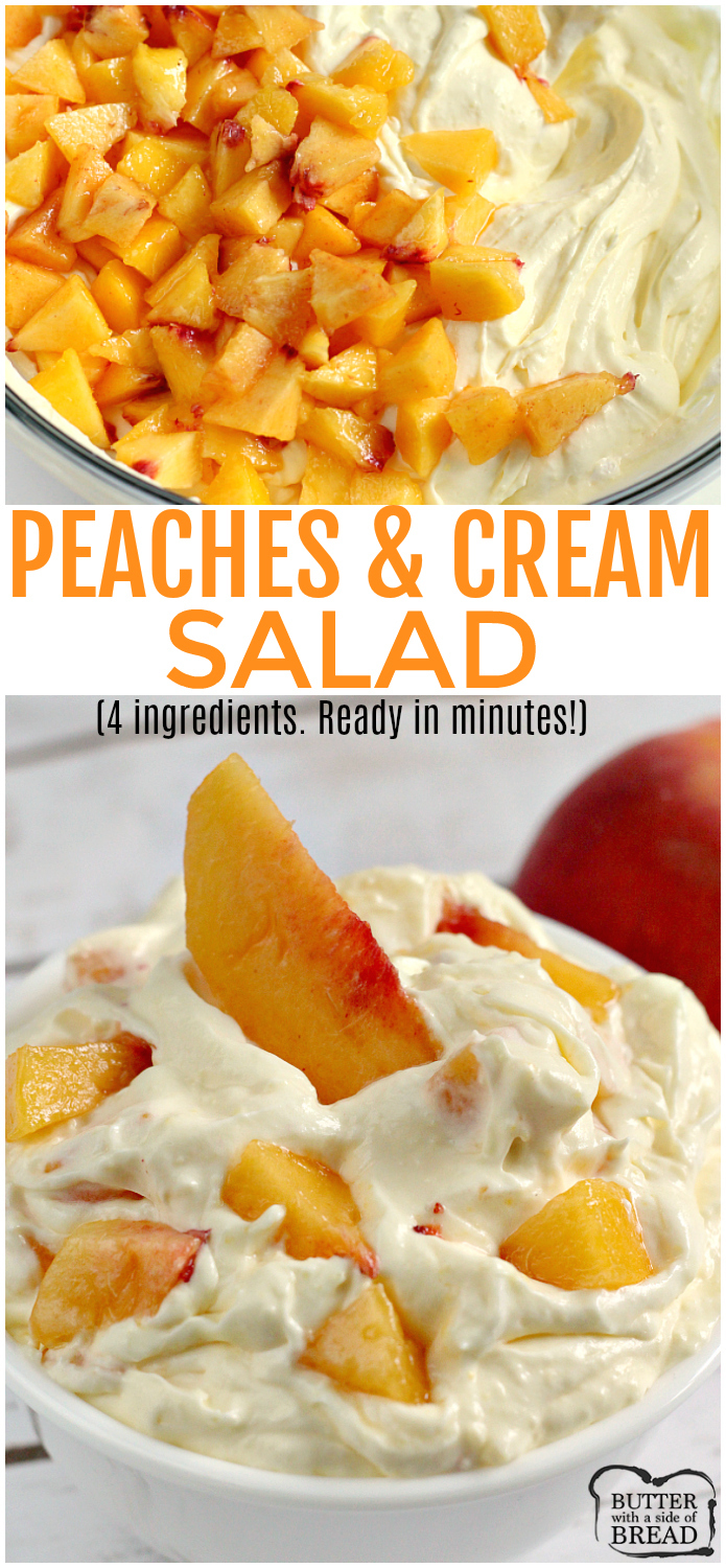 Peaches and Cream Salad comes together in just a few minutes with only 4 ingredients! It's the perfect recipe for using up all of those delicious fresh peaches and can be served as a side dish or even dessert!