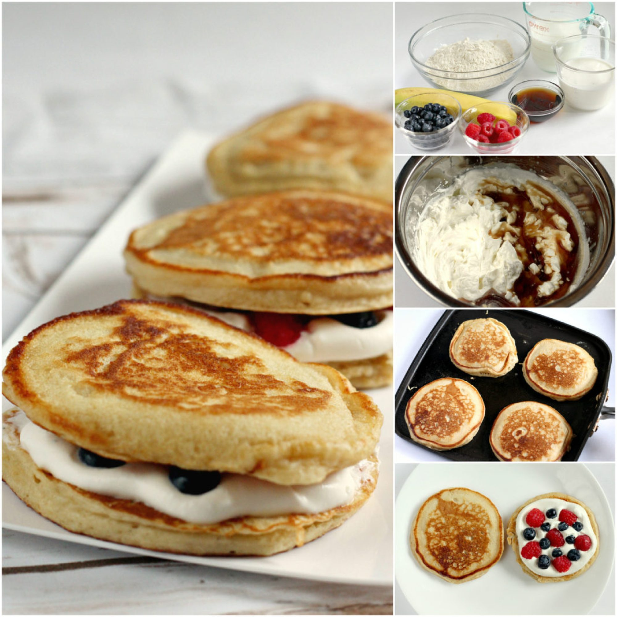 Step by step photos on how to make Pancake Breakfast Sandwiches filled with fresh fruit and a maple whipped cream filling.