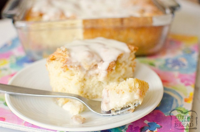 Cinnamon Roll Cake gives you all the classic cinnamon roll flavors with minimal work and time! Everyone loves the fluffy texture, cinnamon and sugar swirl top and the sweet vanilla glaze in this easy cinnamon roll cake recipe.