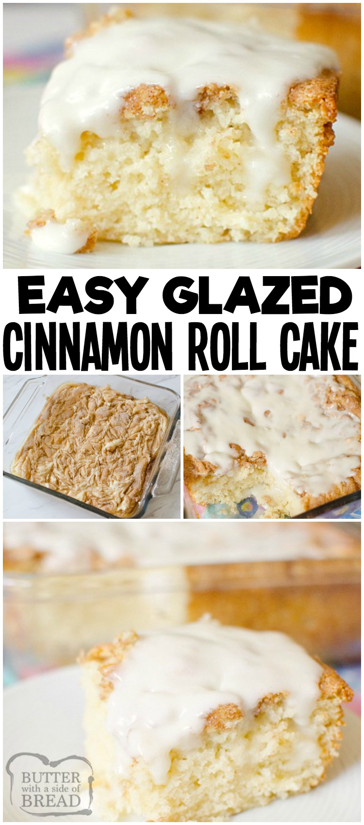 Cinnamon Roll Cake gives you all the classic cinnamon roll flavors with minimal work and time! Everyone loves the fluffy texture, cinnamon and sugar swirl top and the sweet vanilla glaze in this easy breakfast cake recipe. A new favorite that the whole family will love!